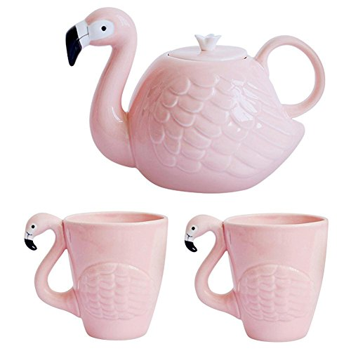 JointVictory Novelty Flamingos Coffee Mugs and Teapot Ceramic 15 Ounce Tea Cup 34 Ounce Kettle for Women,Wife Birthday,Mother Day,Girlfriend,Grandma,Auntie (Set of 3)