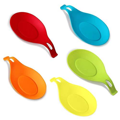 HJZ Flessibile a mandorla Silicone Spoon Rest - 5 Pack (Rosso, blu, verde, arancione, giallo) colorato grande formato