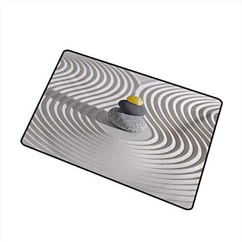 AoLismini Spa-Begrüßungstürmatte DREI heiße Massagesteine in der Mitte des weißen, sandförmigen Kunstwerks Die Türmatte ist geruchsneutral und langlebig, grau und gelb