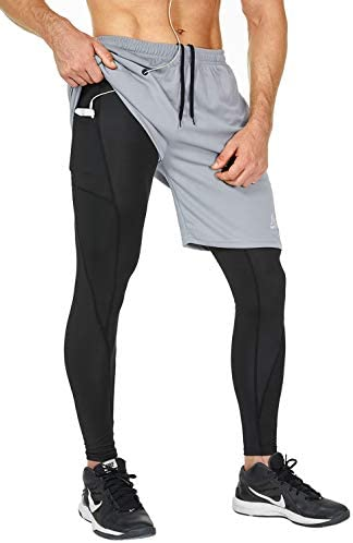 SILKWORLD Men s 2 in 1 Running Yoga Training Pants Workout Leggings with Zipper Pockets Grey product image