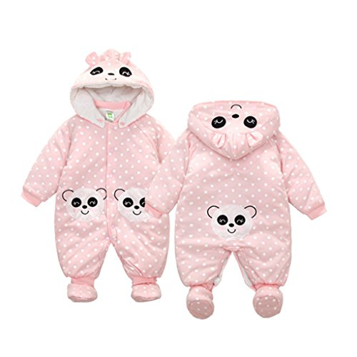 GudeHome Neugeborenes Baby Strampler Overall Winterjacke Onesie Unisex Cartoon Baby Strampelanzug mit Kapuze, 0-3Monate