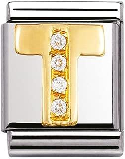 Original nomination big initial T in rhinestones and 18K gold