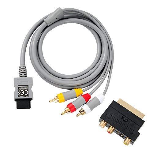 AMATHINGS TV AV Anschluss-Kabel Passend Für Wii Und Wii U- Und Scart Adapter IN/Out Umschalter + S-Video/S-VHS