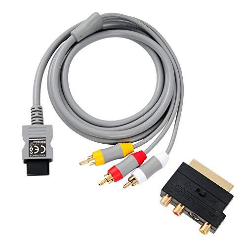AMATHINGS TV AV Anschluss-Kabel Passend Für Wii Und Wii U- Und Scart Adapter IN/Out Umschalter + S-Video/S-VHS