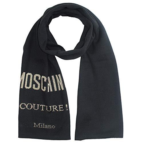 Moschino Couture gebreide sjaal, zwart en goud, ca. 180 x 29 cm.