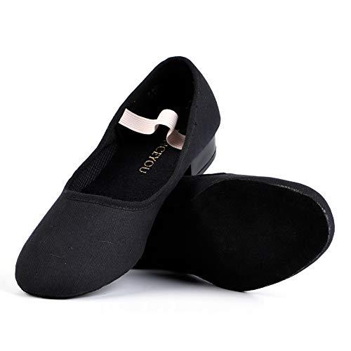 DANCEYOU Tanzschuhe Canvas Charakter Schuhe mit niedrigem Absatz für Mädchen und Frauen Schwarz 28-39