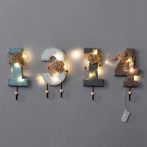 CSQHCZS-JSD Kledingrek muur bevestigde decoratieve kledinghaak met led-snoer-licht-gordelhanger en hoed Organizer Entryway hondenriem en sleutelhouder creatief alfabet patroon ++