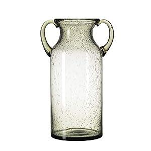 Silk Flower Arrangements QUECAOCF Colorful Flower Vase Glass with Handle, Handmade Air Bubbles Glass Vase for Centerpiece Home Decorative (Blue, Purple, Grey, Green) (Grey, Large)