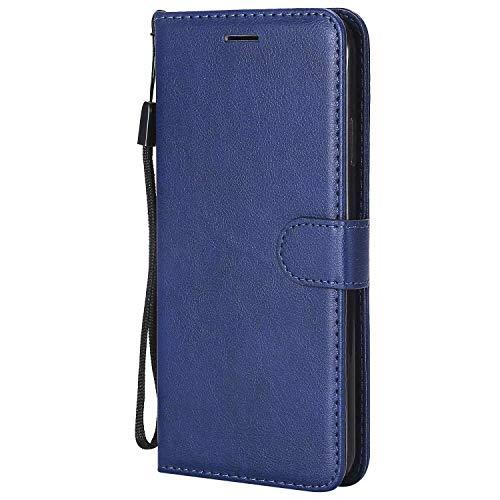 HUAI Funda de piel con tapa para iPhone 11 Pro Max X XR XS Max Funda tipo cartera con ranura para tarjeta para iPhone 5, 5S, 6, 6S, 7, 8 Plus (color: azul, material: para iPhone 5, 5S SE)