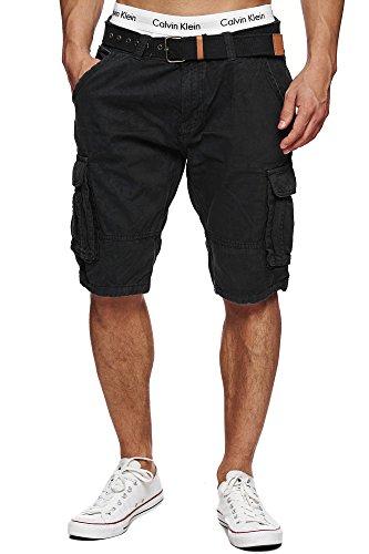 Indicode Herren Monroe Cargo ZA Shorts m. 6 Taschen inkl. Gürtel aus 100% Baumwolle | Kurze Hose Bermuda Sommer Herrenshorts Short Men Pants Cargohose kurz Sommerhose f. Männer Black XL