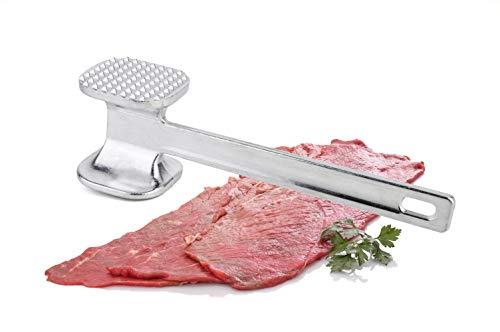Amir food PREMIUM ORIENTAL - Martillo de aluminio para carne con lado liso y dentado, 24 cm de largo, gran superficie de golpeo.