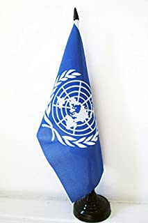 AZ FLAG United Nations Table Flag 5'' x 8'' - UNO Desk Flag 21 x 14 cm - Black Plastic Stick and Base