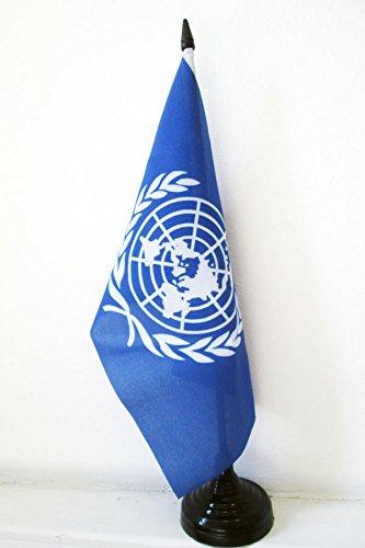 AZ FLAG Drapeau de Table ONU 21x14cm - Petit Drapeaux DE Bureau des Nations Unies 14 x 21 cm
