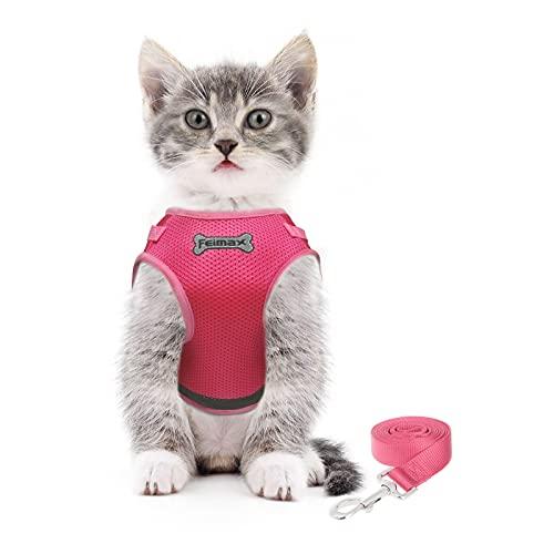 FEimaX Arnés para Gato Antiescape Arnes y Correa Ajustable Reflectante Gatitos Chaleco de Malla Suave para Perros y Gatos Pequeños (XS, Rosa)