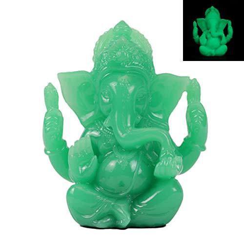 Lord Ganesh Statues - Fluorescent Green Jade Ganesh Idol Figurine - Elephant God Buddha Sculpture for Home Car Decor