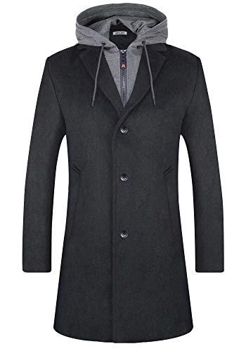 BOJIN - Abrigo de invierno para hombre, de mezcla de lana