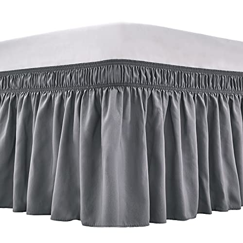 ARANA Bed Skirt Dark Grey King Size Wrap-Around Dust Ruffles, 15 inch Drop Elastic Easy-Install Bedskirt Wrinkle/Fade Resistance, Machine Washable