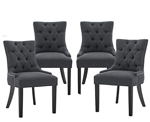 tufted dining chair set of 2s Tufted Dining Chairs Set of 4 Kitchen Dining Room Chairs Classical Parsons Chairs Chic Living Room Accent Chair, Linen Upholstered Chairs with 21