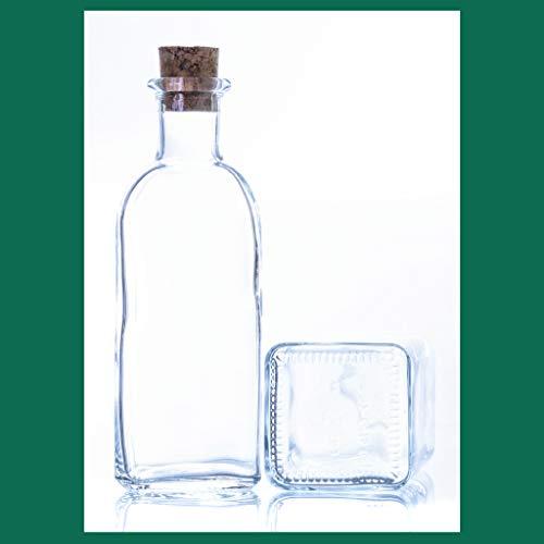 'ESENCIA ANDALUSI' Botellas vacías de 500 ml Botella de Vino Botella de Licor Botella de Aceite Botella de vinagre de Cristal, 0,5 litros, Botella Corcho (Caja 6 Und Tapón Corcho)