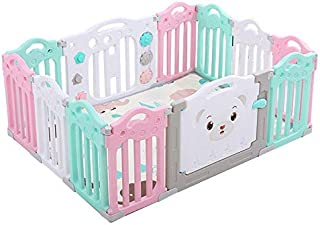 Baby Care Playpen Baby Safety Fence Kids 12 Panel Detachable Portable Activity Center Secure Play Bed Railing(No Mat)