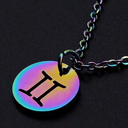 DDDDMMMY Sternzeichen Halsketten,Gemini 12 Sternzeichen Kette Anhänger, Edelstahl 12 Sternbild Halskette Weiblich Farbe Jungfrau Widder Löwe Halskette Verstellbare Halskette