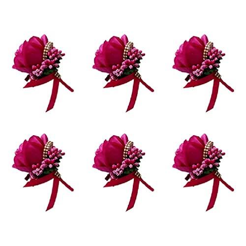 Boutonniere do noivo – 6 peças de buquê de casamento, buquê de casamento, flores de rosas falsas berries de strass para festa de formatura