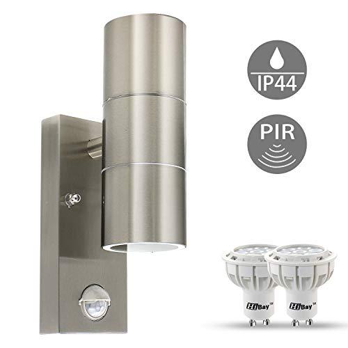 *LED Aussenleuchte mit Bewegungsmelder, Wandleuchte Edelstahl, Up Down PIR inkl. 2x GU10 LED Lampe 7W Warmweiß*