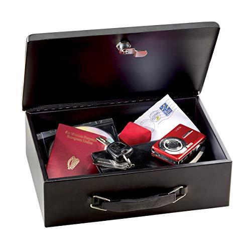 Master Lock 7140EURD Cassetta Portavalori con Chiave, Maniglia, Ottima per Moneta, Nero, Piccolo