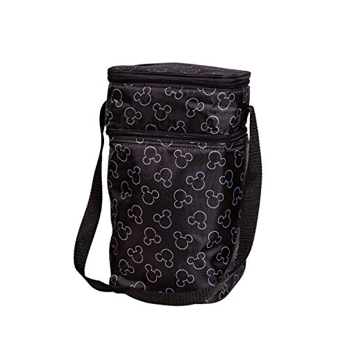 J.L. Childress Disney Baby 6-Bottle Cooler Breastmilk Cooler, Day Care & Lunch Bag for Baby Food & Bottles, Mickey Black