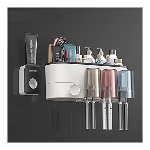 Porta cepillo de dientes Estante de cepillo de dientes, dispensador automático de pasta de dientes sin punch, kit de expresión, conjunto de caja de almacenamiento de pared de baño Almacenamiento de ce