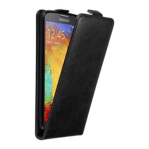 Cadorabo Hülle für Samsung Galaxy Note 3 NEO in Nacht SCHWARZ - Handyhülle im Flip Design mit unsichtbarem Magnetverschluss - Hülle Cover Schutzhülle Etui Tasche Book Klapp Style