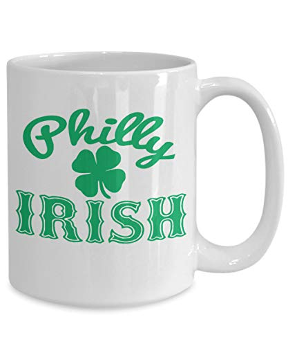 Ad4ssdu4 Philly Irish Coffee Mok Gelukkige Shamrock-beker St. Patricks Dagen groot blad klaver kobald-geschenk St. Patricks PA gelukkige 4