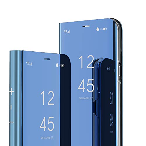 LEECOCO for Samsung A20 Case Slim Luxury View Electroplate Plating Mirror Makeup Stand Scratchproof Full Body Protective Flip Case Cover for Samsung Galaxy A20 / A30 Mirror PU Blue