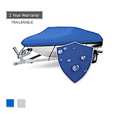 """Seamander Trailerable Runabout Boat Cover Fit V-Hull Tri-Hull Fishing Ski Pro-Style Bass Boats, Full Size (Pacific Blue, 16'-18.5'L Beam Width up to 94"""") from seamander"""
