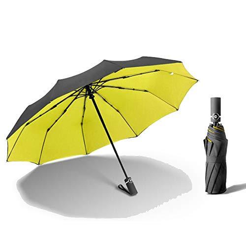 Yi-xir Experiencia Confortable Hombres y Mujeres Totalmente robotsiatura Plegable Paraguas de Negocios Paraguas de Viaje Compacto (Color : Yellow)