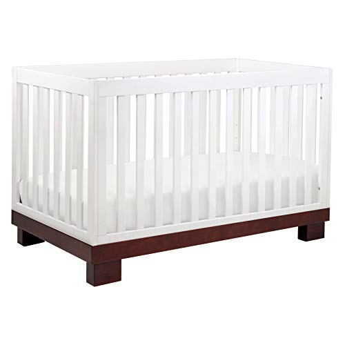 Babyletto Modo 3-in-1 Convertible Crib with Toddler Bed Conversion Kit in Espresso / White, Greenguard Gold Certified