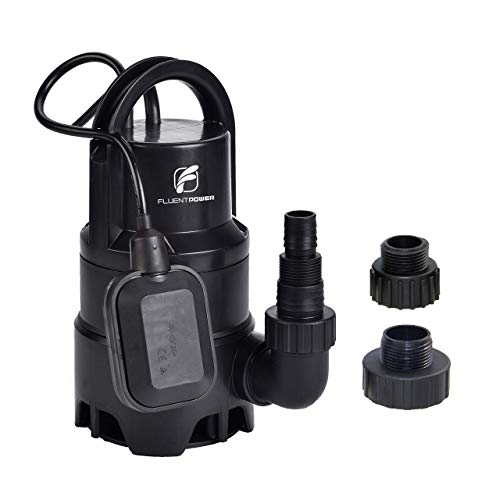 """FLUENTPOWER Electric Submersible Pump 1/3HP with Max Flow 2100 GPH Clean/Dirty Submersible Sump Pump Included 3/4"""" Standard Garden Hose Connector and Float Switch for Automatic Operation"""