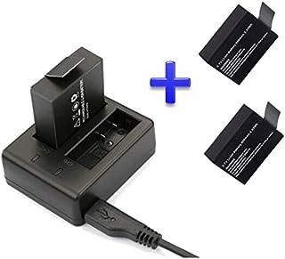 Theoutlettablet® Cargador Doble externo para cámara deportiva DV SJCAM SJ4000 SJ5000 Sport Cam - Excelvan - Elephone - Topjoy - Qumox - Topop - VicTsing - Pictek - Dbpower - Q5 - EX5000 + 2 Baterías reemplazo 900 mah