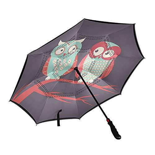 ISAOA - Paraguas de golf con diseño de búhos invertidos para parejas, con funda de transporte