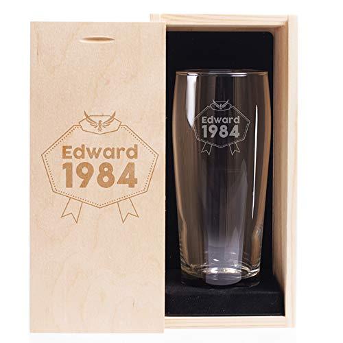 Bicchiere da Birra Personalizzata Compleanno con Cofanetto - Eagle