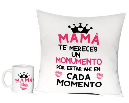 Regalo CUMPLEAÑOS MAMÁ Cojín Original 35 x 35 cm + Taza 350 ml . Incluye Relleno Regalo para EL Dia DE Las Madres Desayuno Original Dia De La Madre (COJIN +Taza Mama TE MERECES)