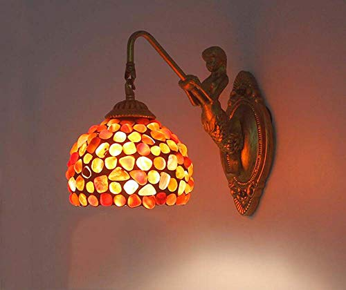 Tiffany Stil Wandleuchten, Retro Glasmalerei Nachtlicht, Achat Stein Wandleuchte, für Western Restaurant Hotelzimmer Wandleuchte 110-220V E27