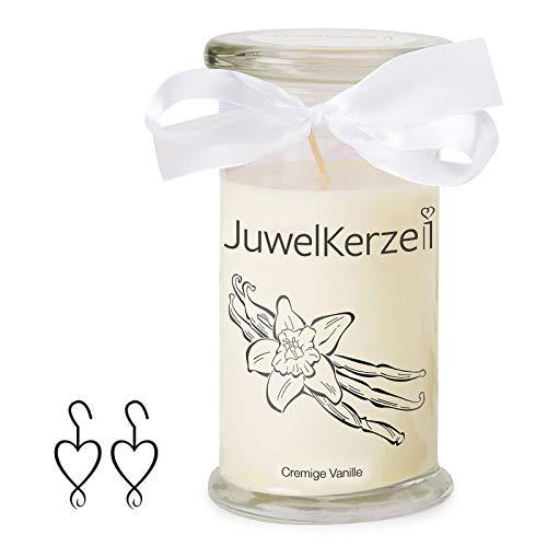 JuwelKerze Schmuckkerze 'Cremige Vanille' große beige Duftkerze mit echtem Silber Schmuck (Ohrringe) - Kerze mit Schmucküberraschung als Geschenk für sie