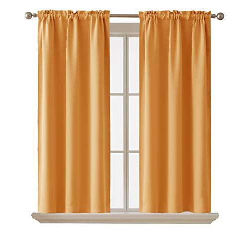 Deconovo Room Darkening Curtain ThermaInsulated Blackout Curtains for Kids Room Orange Flame 38 x 63 Inch 2 Panels
