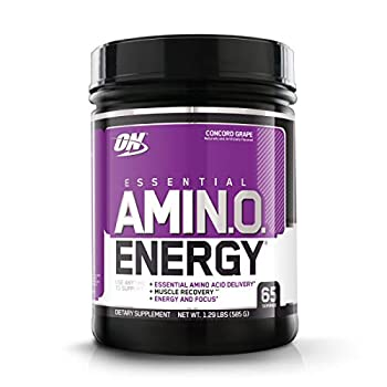 Optimum Nutrition Amino Energy - Pre Workout with Green Tea BCAA Amino Acids Keto Friendly Green Coffee Extract Energy Powder - Concord Grape 65 Servings