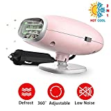 AUTOGO Portable Car Heater 12V Fast Heating Car Defroster 2 in 1 Auto Heater/Cooling Fan Car Windscreen Demister Heater(Pink)
