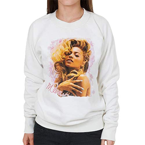 VINTRO Singer Beyonce Shiny Nails Damen Sweatshirt Original Portrait by Sidney Maurer Gr. XX-Large, Weiß (Arctic White)