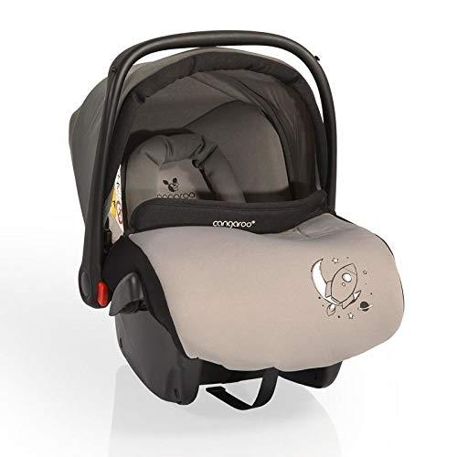 CANGAROO YKO705 Kindersitz Babyschale Apollo Gruppe 0+ (0 bis 13 kg) YKO-705 mit Sonnendach, Fußsack, grau