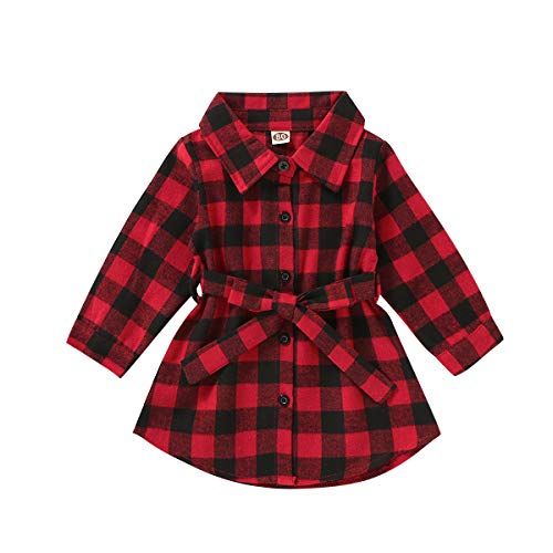 Baby Toddler Girls Long Sleeve Button Down Flannel Red Plaid Shirts Dress with Belt Kids Fall Clothes (Red, 12-18 Months)