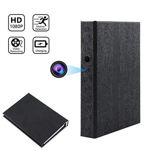 Hidden Camera Book Spy Camera HD 1080P Covert Nanny Cam Video Recorder for Home Security 10000mAh Battery Powered